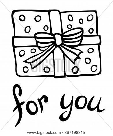 Gift Vector Doodle Illustration - Gift Box Wrapped In Polka Dot Paper, Decorated With A Ribbon, For