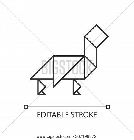 Tangram Pixel Perfect Linear Icon. Dissection Puzzle, Chinese Tabletop Game Thin Line Customizable I