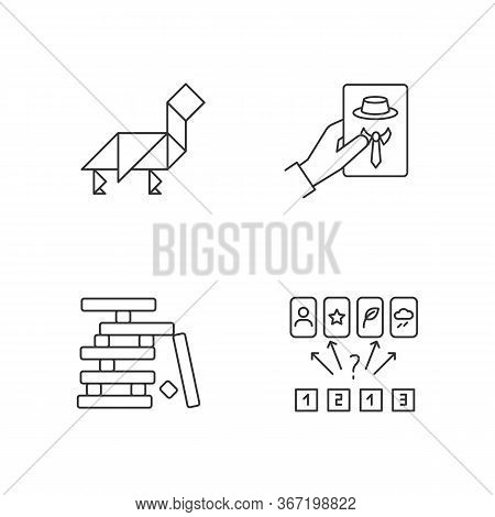Tabletop Games Pixel Perfect Linear Icons Set. Entertaining Pastime Customizable Thin Line Contour S