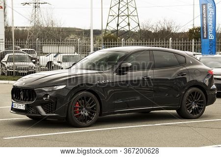 Kiev, Ukraine - April 21, 2020: Black Maserati Levante In The City. Black Car With Black Wheels.