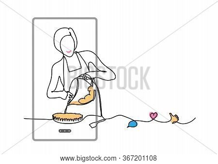 Baking, Cooking Vlog. Vector Concept With Girl, Phone, Like, Thumb Up, Heart, Comment. One Continuou