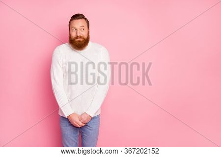 Portrait Of She Modest Attractive Guy Want Speak With Cool Girls Cant Go Shrug Shoulders Look Intere