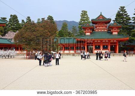Kyoto, Japan - April 19, 2012: People Visit Heian Jingu Shrine In Kyoto, Japan. Old Kyoto Is A Unesc