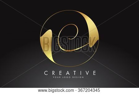 Initial C Handwritten Letter Logo With Golden Elegant Design And Golden Wave Circle. Shiny Metal Cre