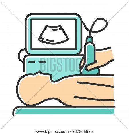 Ultrasound Diagnostics Color Icon. Ultrasonography. Medical Procedure. Healthcare Services. Patient