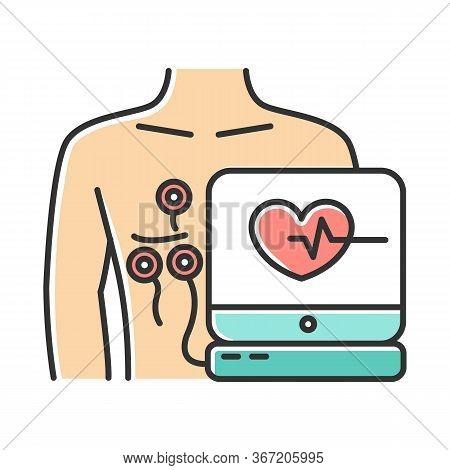 Electrocardiogram Color Icon. Heart Disease Examination. Pulse Rate On Screen. Cardiology, Cardiogra