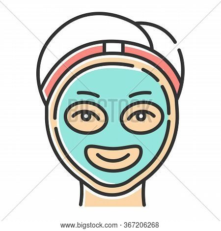 Cosmetology Color Icon. Spa Facial Treatment. Medical Procedure. Face Female Mask For Rejuvenation.
