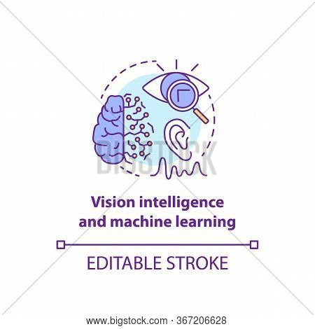 Vision Intelligence And Machine Learning Concept Icon. Smart Computer System Idea Thin Line Illustra