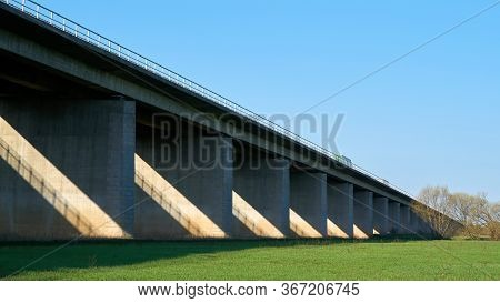 Bridge On The A2 Motorway Between Hohenwarthe And Magdeburg In Germany