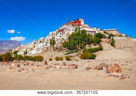 Thikse Gompa Or Thiksey Monastery Is A Tibetan Buddhist Monastery In Thiksey Near Leh In Ladakh, Nor