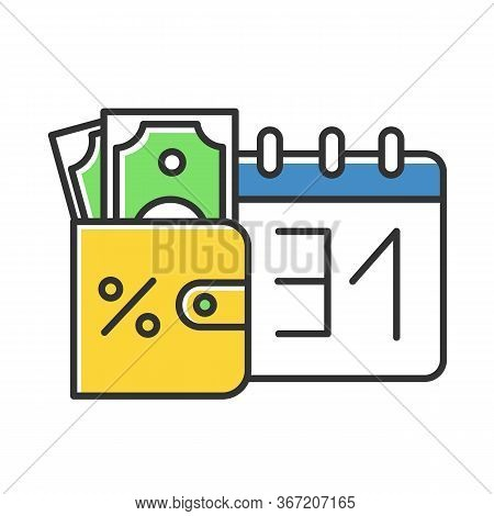 Credit Money Color Icon. Payday Loan. Currency In Wallet. Tracking Increseasing Percentage Rate Inco