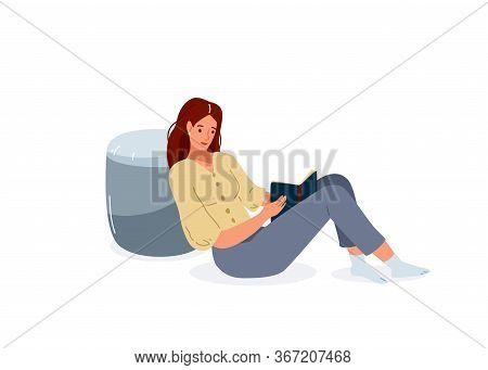 Read Book Vector Illustration. Girl Reading Books In Comfortable Pose Lean On The Grey Pouf. Student