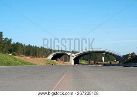 Dolle, Germany - September 21, 2019: Construction Of The A14 Motorway With A Green Bridge For Animal