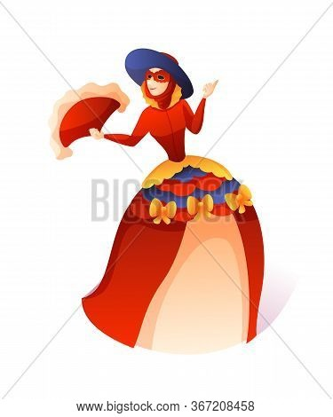 Cartoon Woman In Bright Vintage Fluffy Red Dress, Facial Mask Standing With Feather Fan Isolated On