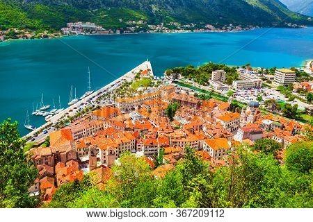 Kotor Old Town Or Stari Grad Aerial Panoramic View In Bay Of Kotor Or Boka Kotorska, Montenegro