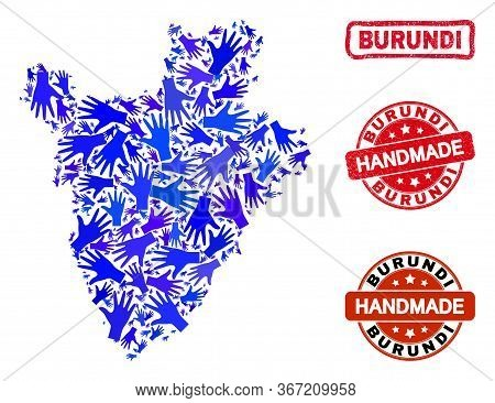 Vector Handmade Collage Of Burundi Map And Rubber Stamps. Mosaic Burundi Map Is Made With Randomized