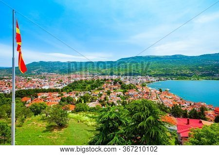 Lake Ohrid And Ohrid City Aerial Panoramic View From Samuel Fortress In North Macedonia