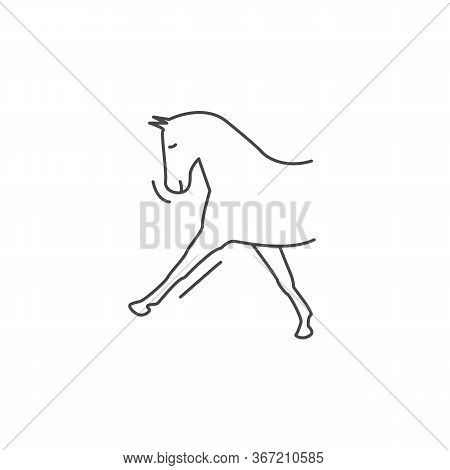 Dressage Horse In Gallop Pirouette Icon In Sketch
