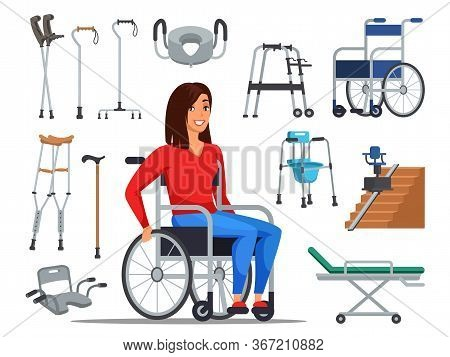 Cartoon Disabled Woman Sitting On Wheelchair And Different Mobility Aids. Sick People With Restricte