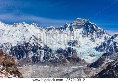 Gyachung Kang Mountain Landscape In Everest Or Khumbu Region In Himalaya, Nepal And China Border