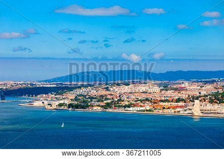 Lisbon Cityscape Aerial Panoramic View. Lisbon Or Lisboa Is The Capital And The Largest City Of Port