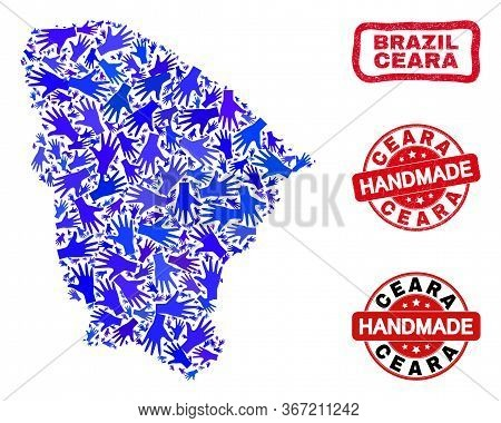 Vector Handmade Composition Of Ceara State Map And Rubber Seals. Mosaic Ceara State Map Is Created O