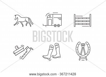 Horse Riding Outline Icon Set. Dressage Horse. Horse Box Trailer. Show Jumps. Brushes.