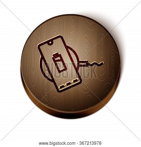 Brown Line Smartphone Charging On Wireless Charger Icon Isolated On White Background. Charging Batte