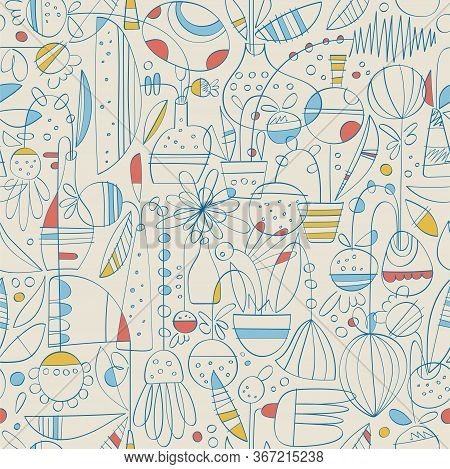 Contemporary Toile De Jouy Hand Drawn Pattern Of Linear Abstract Flowers In Pots And Vases With Basi