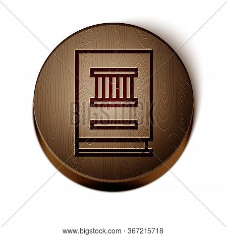 Brown Line Law Book Icon Isolated On White Background. Legal Judge Book. Judgment Concept. Wooden Ci