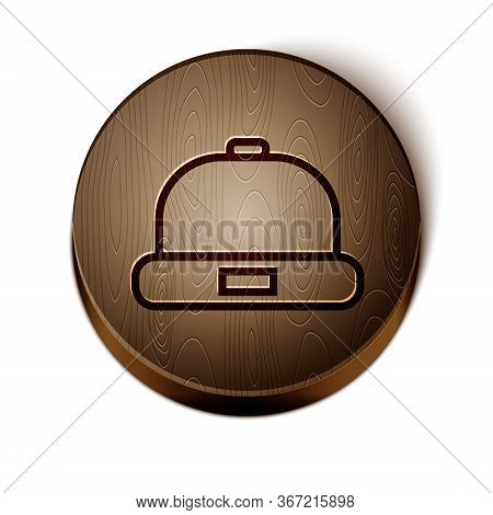 Brown Line Beanie Hat Icon Isolated On White Background. Wooden Circle Button. Vector