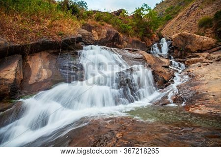 Beauty Waterfall Near Munnar Town In Kerala State Of India
