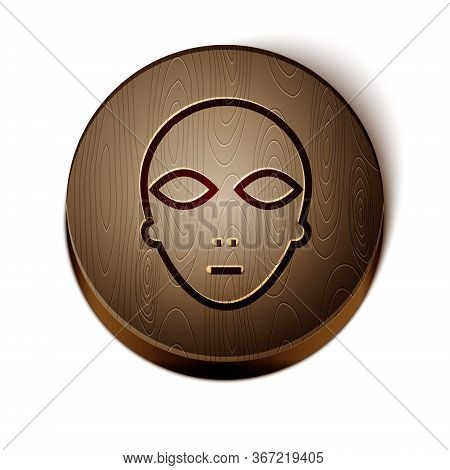 Brown Line Alien Icon Isolated On White Background. Extraterrestrial Alien Face Or Head Symbol. Wood