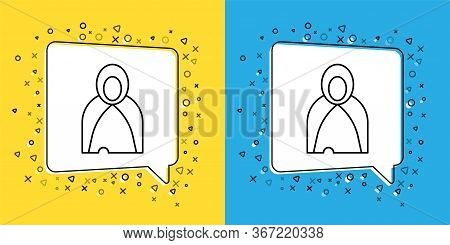 Set Line Mantle, Cloak, Cape Icon Isolated On Yellow And Blue Background. Magic Cloak Of Mage, Wizar