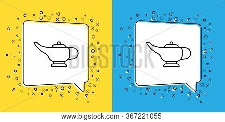 Set Line Magic Lamp Or Aladdin Lamp Icon Isolated On Yellow And Blue Background. Spiritual Lamp For