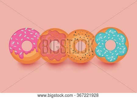 Donut Vector Set Isolated On Light Orange Background With Shadows. Donuts Collection. Sweet Bakery C