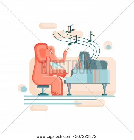 A Funny Elephant Sits On A Chair And Plays The Grand Piano. The Illustration Is Stylized In A Flat S