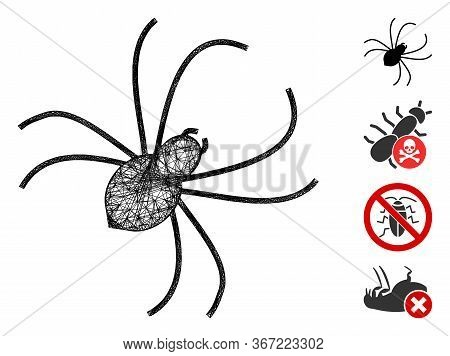 Mesh Spider Web Icon Vector Illustration. Carcass Model Is Based On Spider Flat Icon. Mesh Forms Abs
