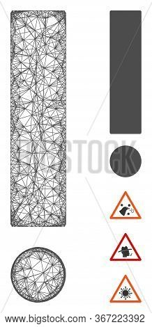 Mesh Exclamation Sign Web 2d Vector Illustration. Carcass Model Is Based On Exclamation Sign Flat Ic