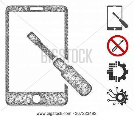 Mesh Smartphone Tuning Screwdriver Web Icon Vector Illustration. Carcass Model Is Based On Smartphon