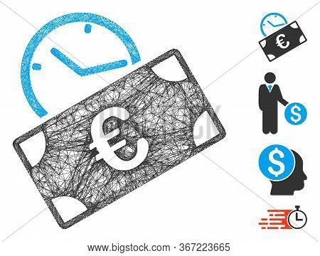 Mesh Euro Recurring Payment Web 2d Vector Illustration. Model Is Based On Euro Recurring Payment Fla