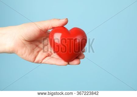 Female Hand Holds Heart On Blue Background. Health Care, Organ Donation