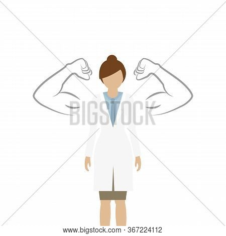 Female Doctor With Drawn Muscular Arms On White Background Vector Illustration Eps10