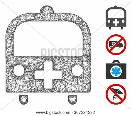 Mesh Medical Bus Web Icon Vector Illustration. Abstraction Is Based On Medical Bus Flat Icon. Mesh F