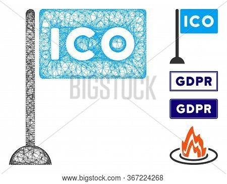 Mesh Ico Rectangle Flag Web Icon Vector Illustration. Abstraction Is Based On Ico Rectangle Flag Fla