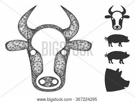 Mesh Cow Head Web 2d Vector Illustration. Carcass Model Is Based On Cow Head Flat Icon. Mesh Forms A