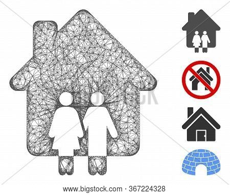 Mesh Family House Web 2d Vector Illustration. Model Is Created From Family House Flat Icon. Network