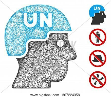 Mesh United Nations Soldier Helmet Web Icon Vector Illustration. Carcass Model Is Based On United Na