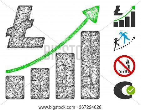 Mesh Litecoin Growth Graph Web Icon Vector Illustration. Carcass Model Is Based On Litecoin Growth G