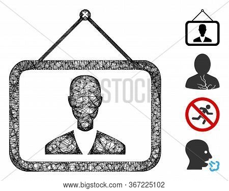 Mesh Man Picture Web Icon Vector Illustration. Carcass Model Is Created From Man Picture Flat Icon.